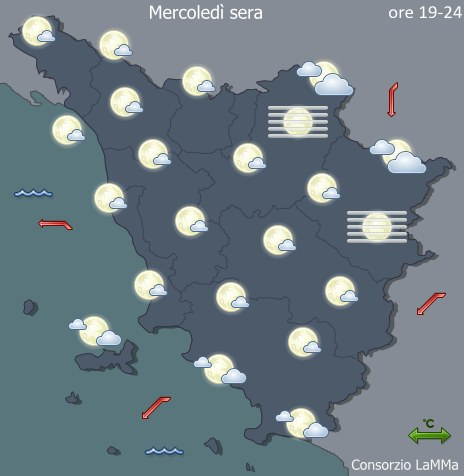 Previsioni meteo Toscana - Oggi - Sera