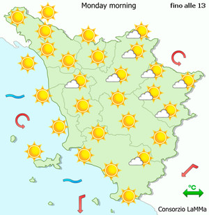 Today weather forecast for Tuscany, Italy