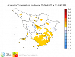 Anomalia temperatura estate 2020
