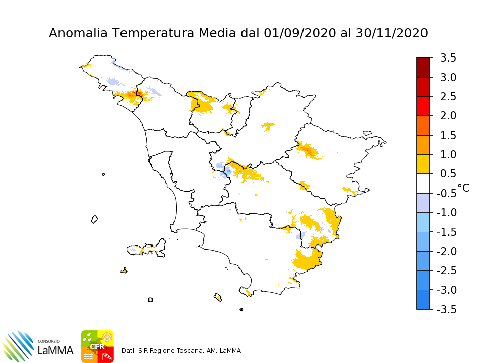 temperatura media autunno 2020 toscana